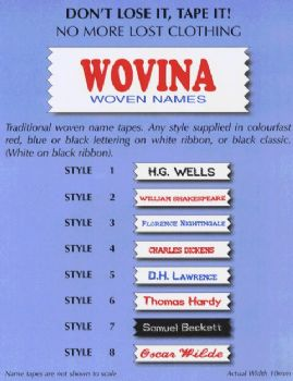 Wovina Name Tapes